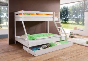 stapel bed, stapelbed 3 persoons, stapelbed 4 persoons, halfhoogslaper, halfhoogslaper met bureau